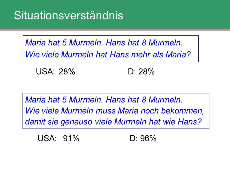 Maria hat 5 Murmeln. Hans hat 8 Murmeln. Wie viele Murmeln hat Hans mehr als Maria? USA:28%D: 28% Maria hat 5 Murmeln. Hans hat 8 Murmeln. Wie viele M