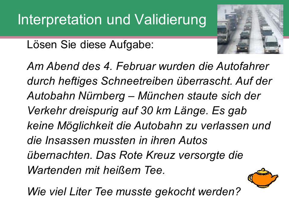 Lösen Sie diese Aufgabe: Am Abend des 4. Februar wurden die Autofahrer durch heftiges Schneetreiben überrascht. Auf der Autobahn Nürnberg – München st