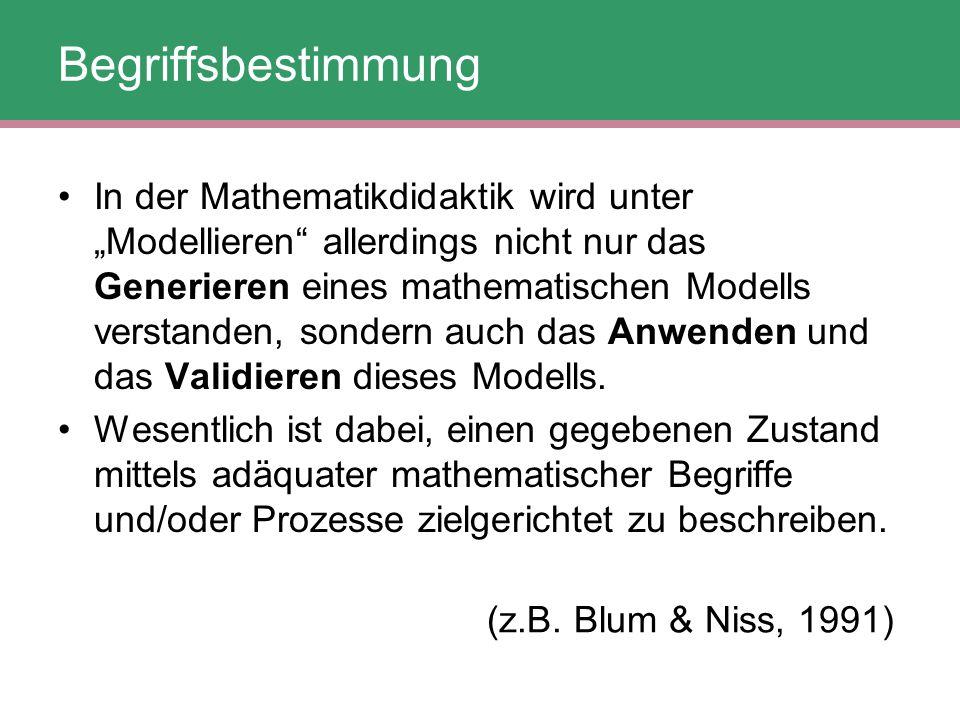 """Begriffsbestimmung In der Mathematikdidaktik wird unter """"Modellieren"""" allerdings nicht nur das Generieren eines mathematischen Modells verstanden, son"""