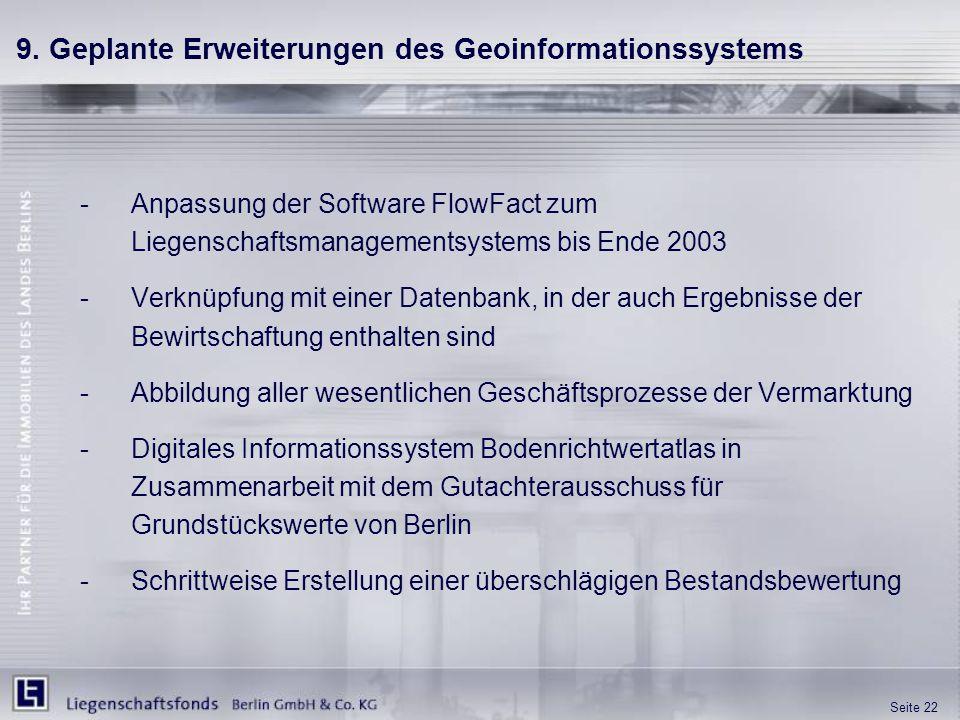 Seite 22 9. Geplante Erweiterungen des Geoinformationssystems -Anpassung der Software FlowFact zum Liegenschaftsmanagementsystems bis Ende 2003 -Verkn