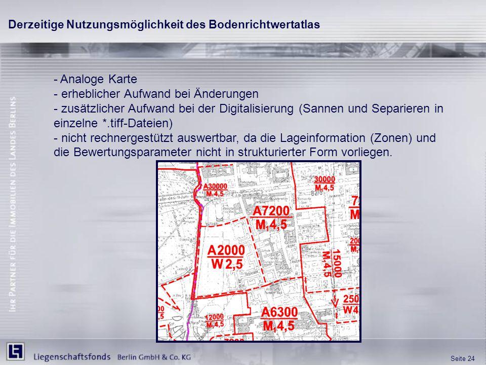 Seite 24 - Analoge Karte - erheblicher Aufwand bei Änderungen - zusätzlicher Aufwand bei der Digitalisierung (Sannen und Separieren in einzelne *.tiff