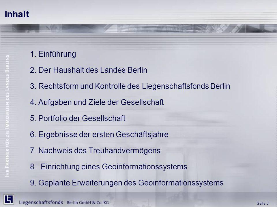 Seite 3 1. Einführung 2. Der Haushalt des Landes Berlin 3. Rechtsform und Kontrolle des Liegenschaftsfonds Berlin 4. Aufgaben und Ziele der Gesellscha