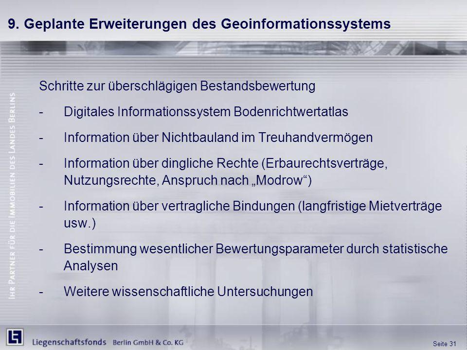 Seite 31 9. Geplante Erweiterungen des Geoinformationssystems Schritte zur überschlägigen Bestandsbewertung -Digitales Informationssystem Bodenrichtwe