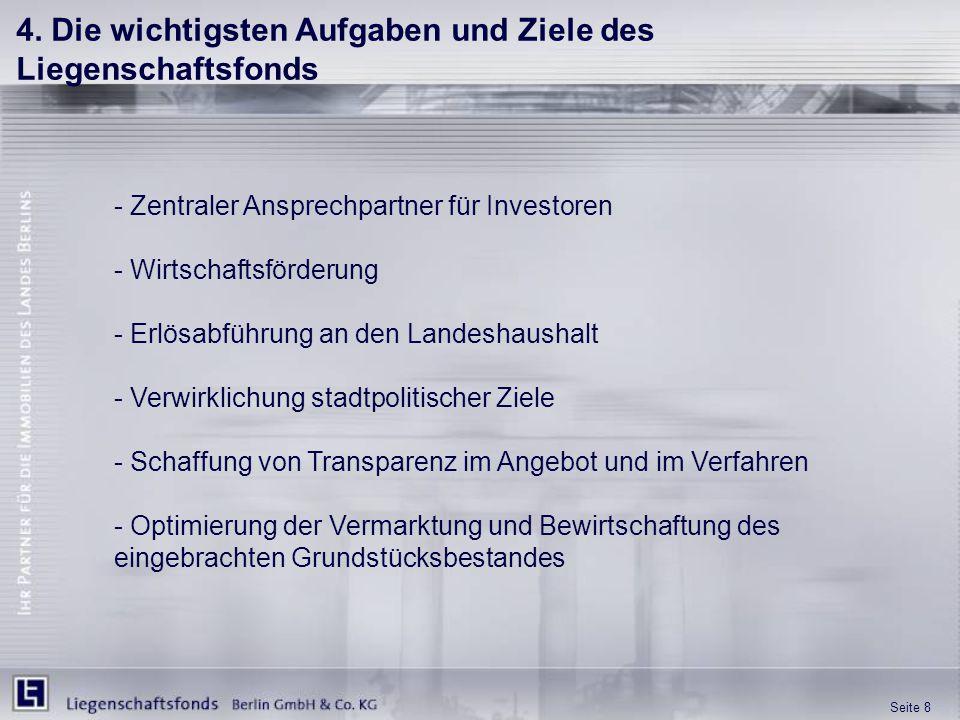 Seite 8 4. Die wichtigsten Aufgaben und Ziele des Liegenschaftsfonds - Zentraler Ansprechpartner für Investoren - Wirtschaftsförderung - Erlösabführun
