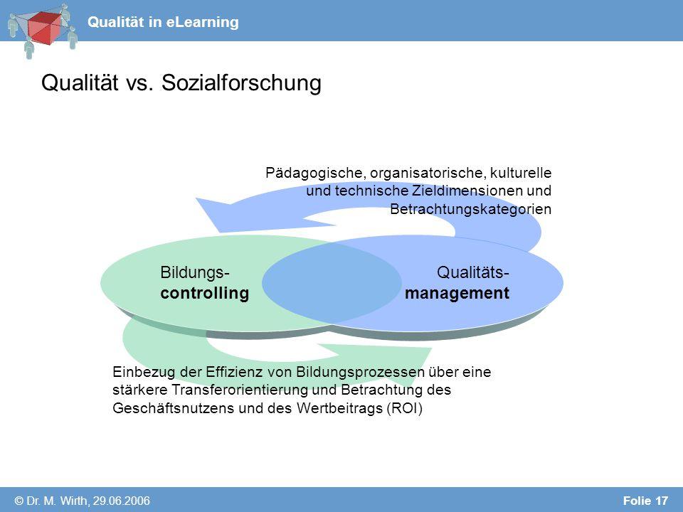 Qualität in eLearning © Dr. M. Wirth, 29.06.2006 Folie 17 Qualität vs.