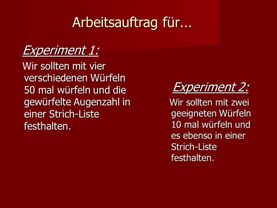 Arbeitsauftrag für … Experiment Experiment 1: sollten mit vier verschiedenen Würfeln 50 mal würfeln und die gewürfelte Augenzahl in einer Strich-Liste