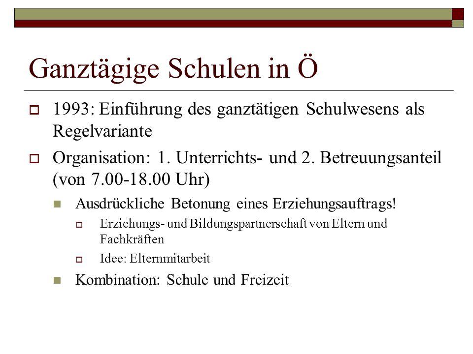 Ganztägige Schulen in Ö  1993: Einführung des ganztätigen Schulwesens als Regelvariante  Organisation: 1.
