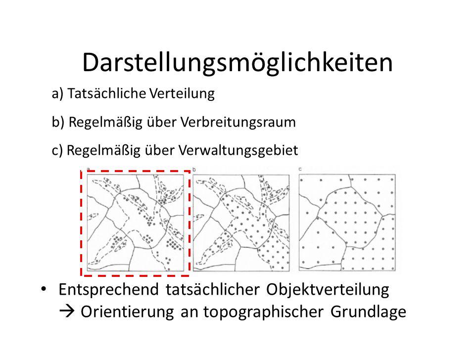 Darstellungsmöglichkeiten Entsprechend tatsächlicher Objektverteilung  Orientierung an topographischer Grundlage a) Tatsächliche Verteilung b) Regelm