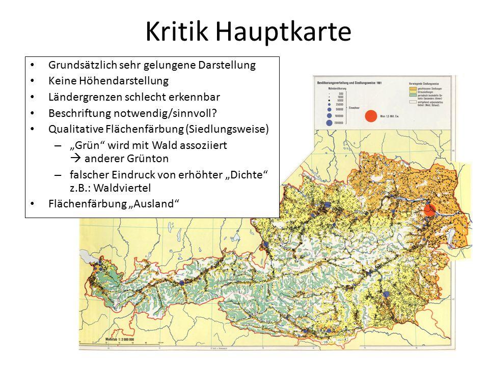 Kritik Hauptkarte Grundsätzlich sehr gelungene Darstellung Keine Höhendarstellung Ländergrenzen schlecht erkennbar Beschriftung notwendig/sinnvoll? Qu