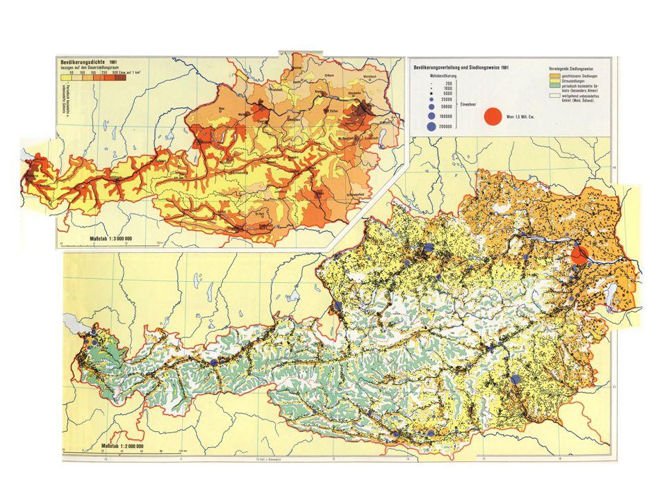 Einordnung Rahmenkarte, komplexanalytische Karte Hauptkarte – Bevölkerungsverteilung, Siedlungsweise – Punktstreuungskarte – Qualitativ und quantitativ Nebenkarte – Bevölkerungsdichte, (wichtige Siedlungen) – Flächenkartogramm – Quantitativ