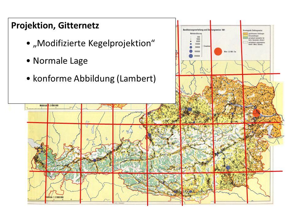 "Projektion, Gitternetz ""Modifizierte Kegelprojektion"" Normale Lage konforme Abbildung (Lambert)"