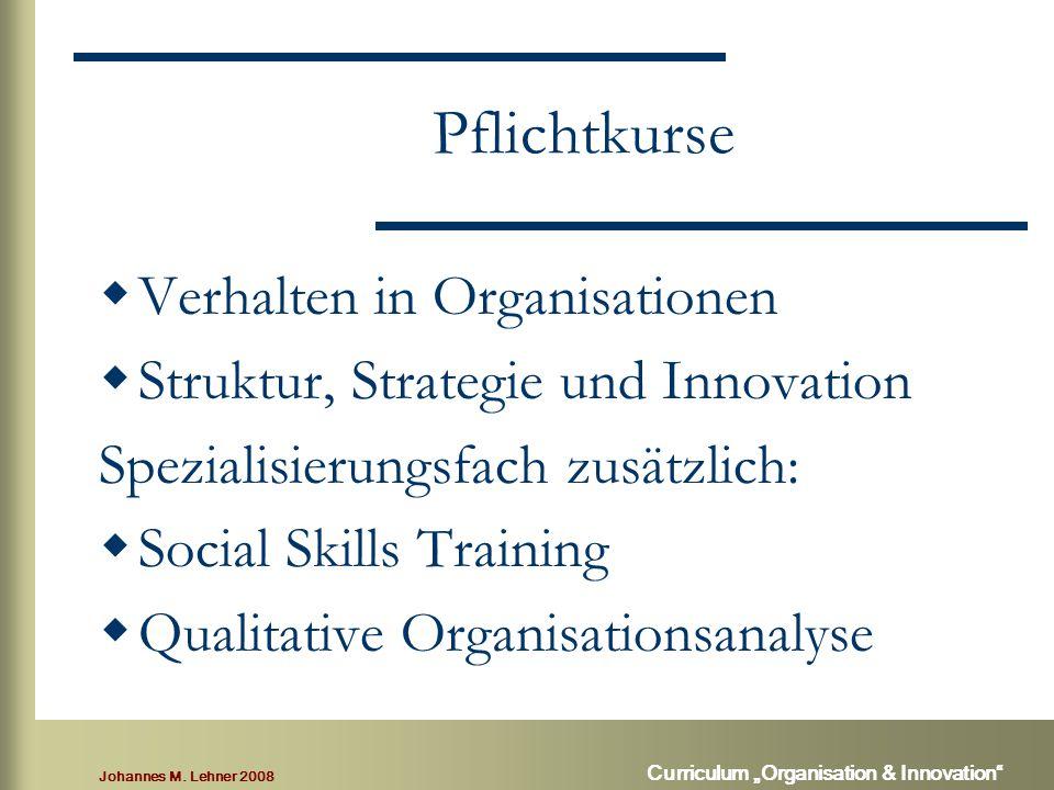 """Johannes M. Lehner 2008 Curriculum """"Organisation & Innovation"""" Pflichtkurse  Verhalten in Organisationen  Struktur, Strategie und Innovation Spezial"""