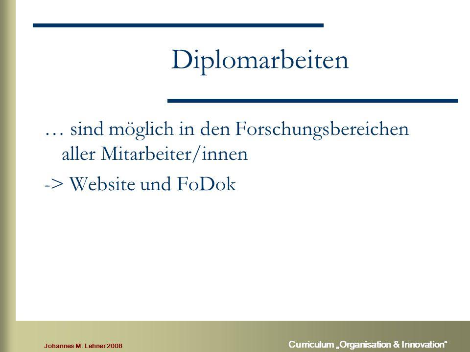 """Johannes M. Lehner 2008 Curriculum """"Organisation & Innovation"""" Diplomarbeiten … sind möglich in den Forschungsbereichen aller Mitarbeiter/innen -> Web"""