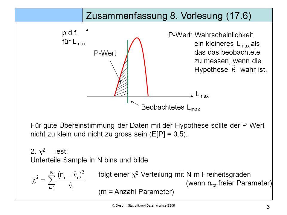K.Desch - Statistik und Datenanalyse SS05 4 Zusammenfassung 8.