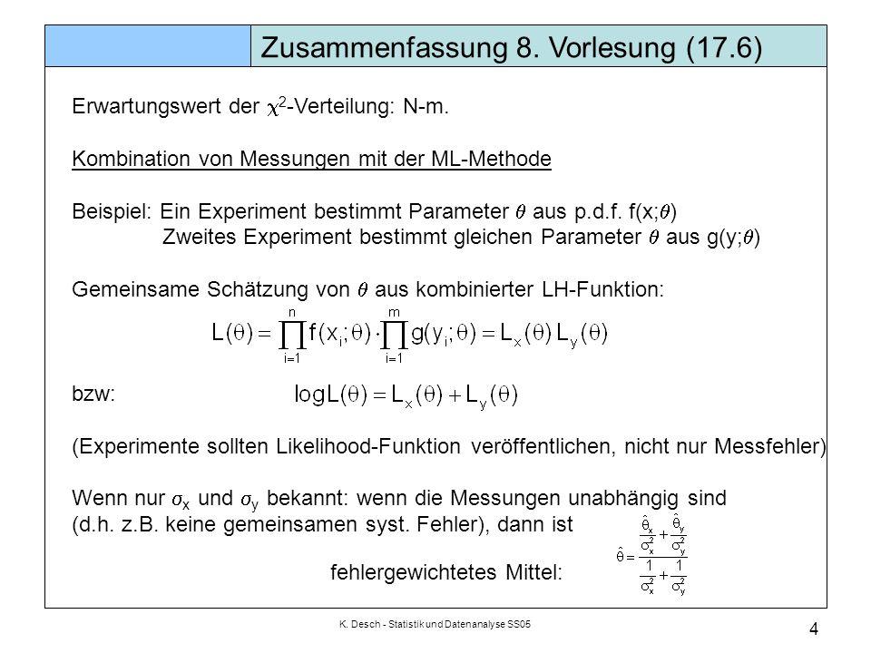 K. Desch - Statistik und Datenanalyse SS05 4 Zusammenfassung 8. Vorlesung (17.6) Erwartungswert der  2 -Verteilung: N-m. Kombination von Messungen mi