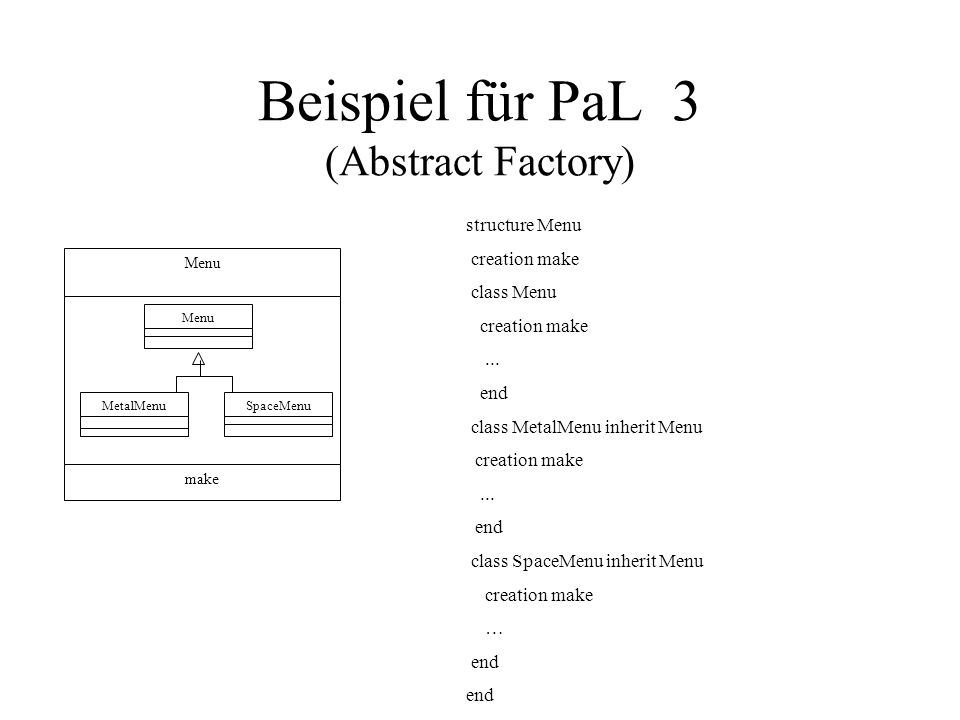Beispiel für PaL 3 (Abstract Factory) Menu make Menu MetalMenuSpaceMenu structure Menu creation make class Menu creation make... end class MetalMenu i