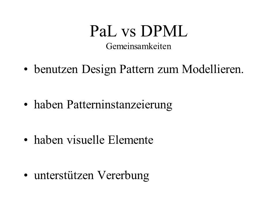 PaL vs DPML Gemeinsamkeiten benutzen Design Pattern zum Modellieren. haben Patterninstanzeierung haben visuelle Elemente unterstützen Vererbung