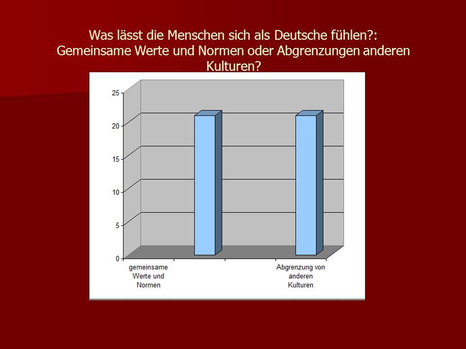 Was lässt die Menschen sich als Deutsche fühlen : Gemeinsame Werte und Normen oder Abgrenzungen anderen Kulturen
