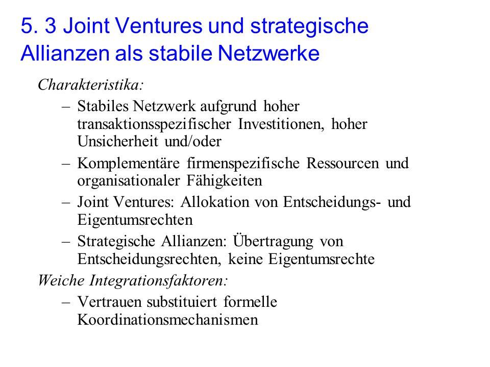 5. 3 Joint Ventures und strategische Allianzen als stabile Netzwerke Charakteristika: –Stabiles Netzwerk aufgrund hoher transaktionsspezifischer Inves