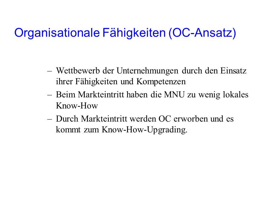 Organisationale Fähigkeiten (OC-Ansatz) –Wettbewerb der Unternehmungen durch den Einsatz ihrer Fähigkeiten und Kompetenzen –Beim Markteintritt haben d