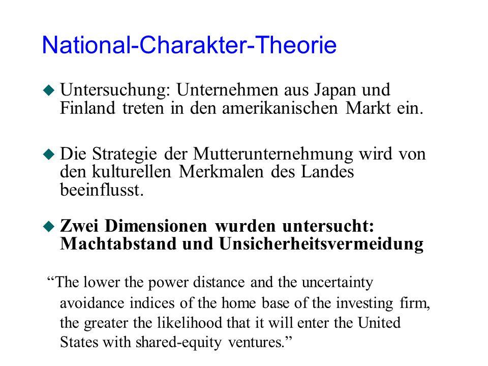 National-Charakter-Theorie u Untersuchung: Unternehmen aus Japan und Finland treten in den amerikanischen Markt ein. u Die Strategie der Mutterunterne