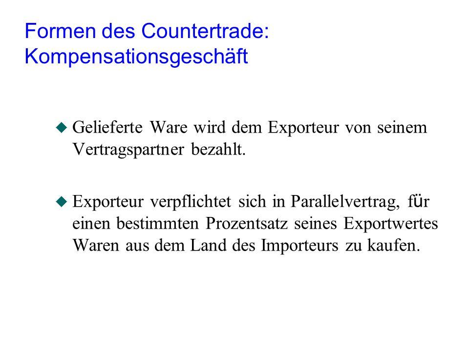 Formen des Countertrade: Kompensationsgeschäft u Gelieferte Ware wird dem Exporteur von seinem Vertragspartner bezahlt.  Exporteur verpflichtet sich