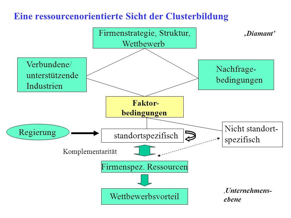 Eine ressourcenorientierte Sicht der Clusterbildung Firmenstrategie, Struktur, Wettbewerb Faktor- bedingungen standortspezifisch Firmenspez. Ressource