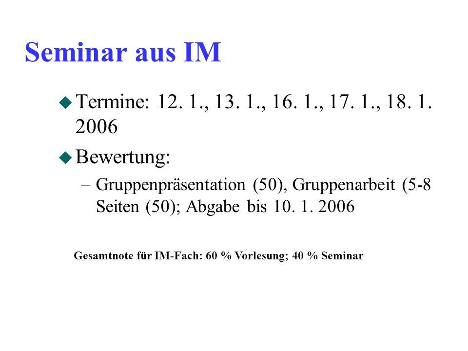 Seminar aus IM u Termine: 12. 1., 13. 1., 16. 1., 17. 1., 18. 1. 2006 u Bewertung: –Gruppenpräsentation (50), Gruppenarbeit (5-8 Seiten (50); Abgabe b