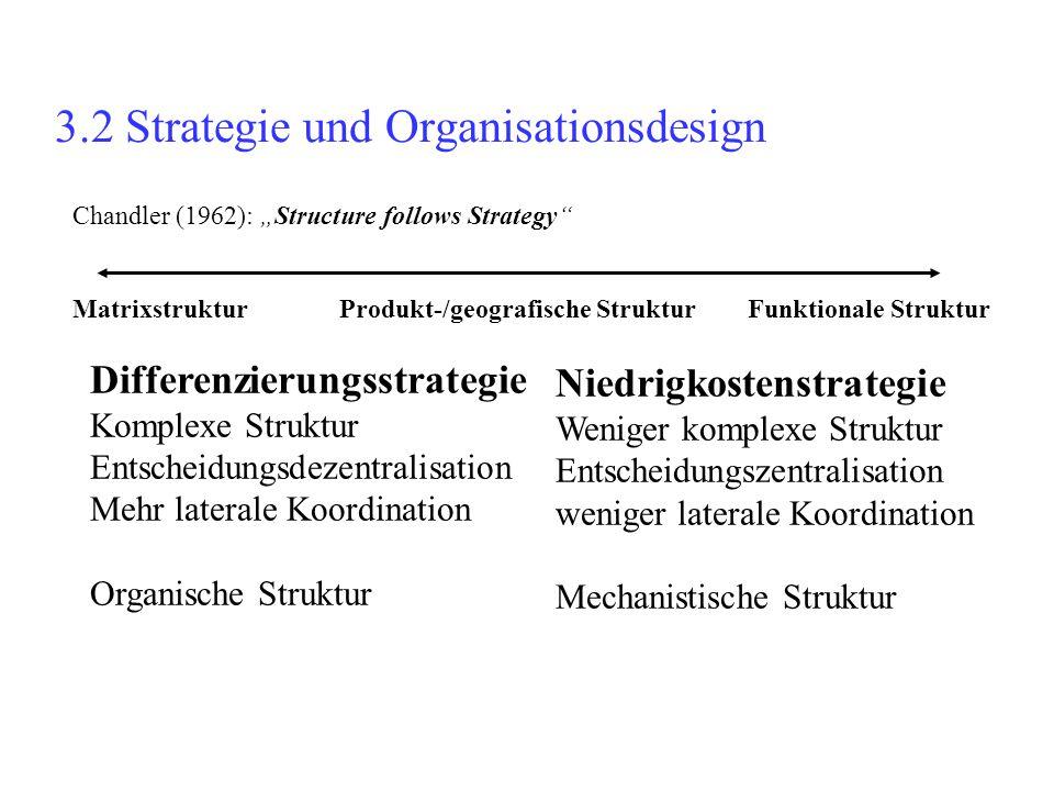 """3.2 Strategie und Organisationsdesign Chandler (1962): """"Structure follows Strategy"""" Matrixstruktur Produkt-/geografische Struktur Funktionale Struktur"""