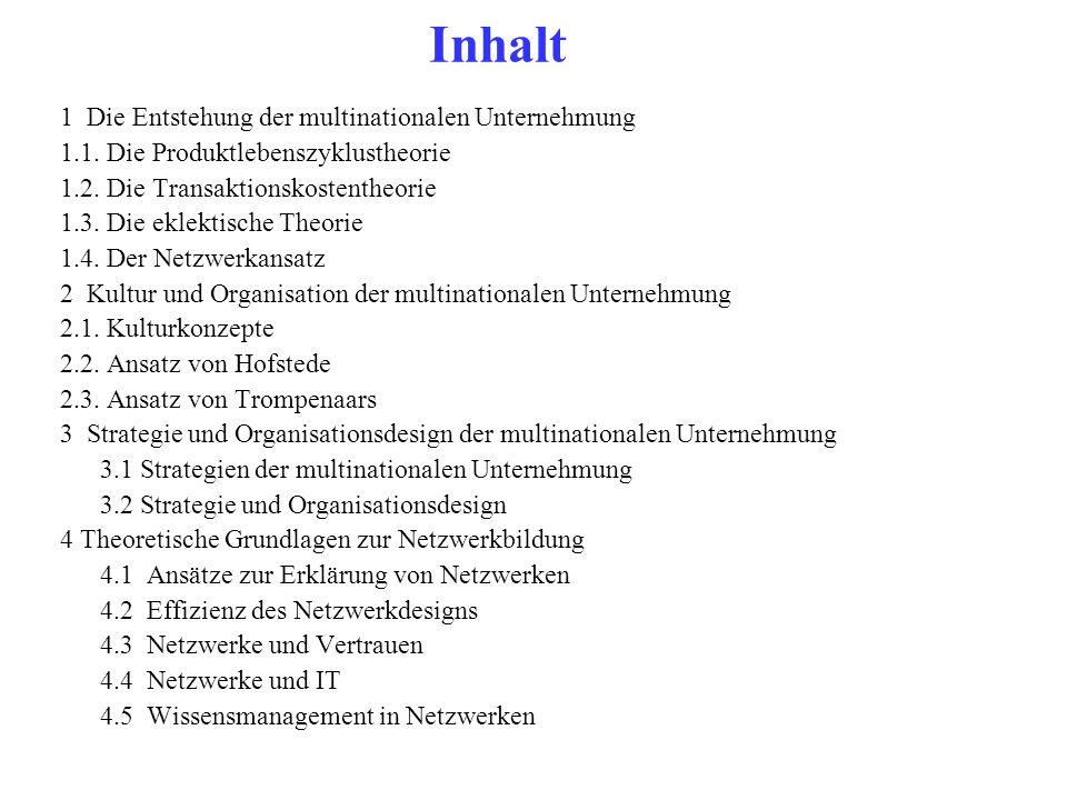 Inhalt 1 Die Entstehung der multinationalen Unternehmung 1.1. Die Produktlebenszyklustheorie 1.2. Die Transaktionskostentheorie 1.3. Die eklektische T