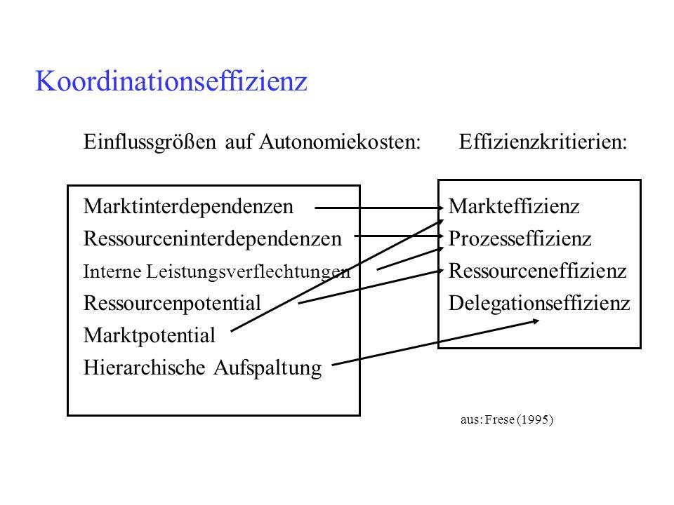 Koordinationseffizienz Einflussgrößen auf Autonomiekosten: Effizienzkritierien: Marktinterdependenzen Markteffizienz Ressourceninterdependenzen Prozes