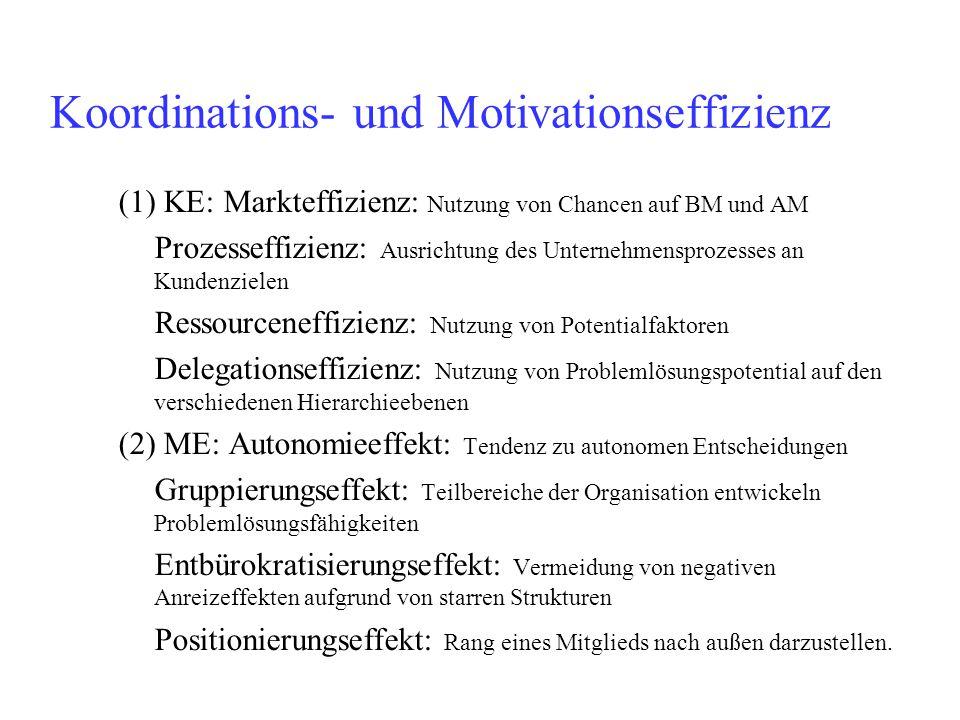 Koordinations- und Motivationseffizienz (1) KE: Markteffizienz: Nutzung von Chancen auf BM und AM Prozesseffizienz: Ausrichtung des Unternehmensprozes