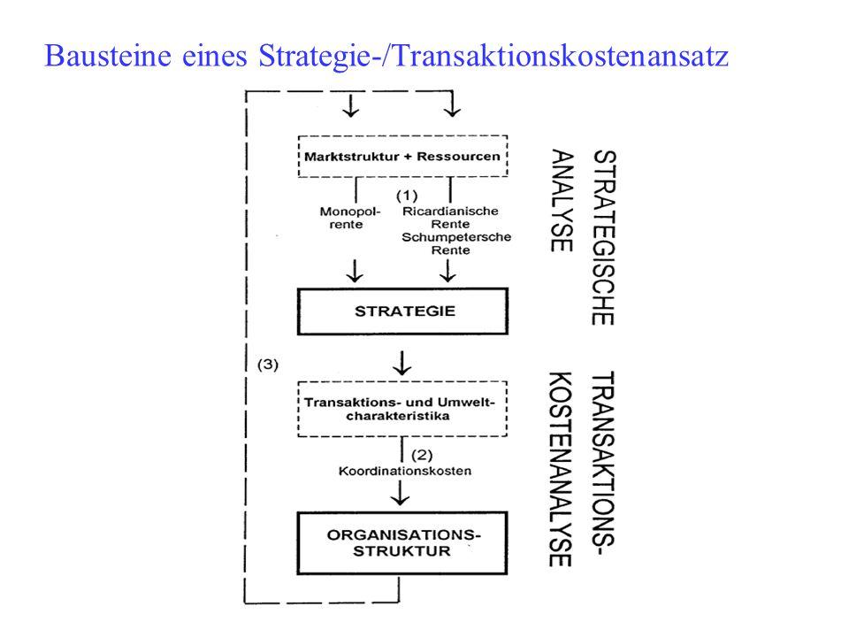 Bausteine eines Strategie-/Transaktionskostenansatz