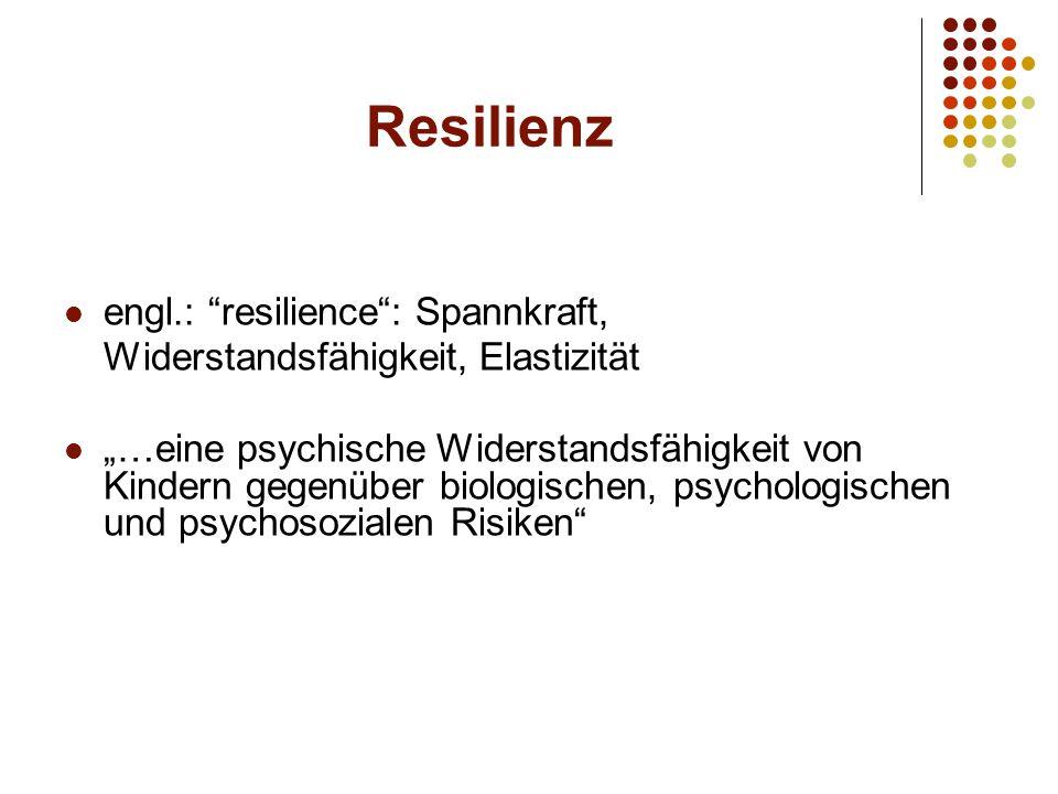 """Resilienz engl.: resilience : Spannkraft, Widerstandsfähigkeit, Elastizität """"…eine psychische Widerstandsfähigkeit von Kindern gegenüber biologischen, psychologischen und psychosozialen Risiken"""