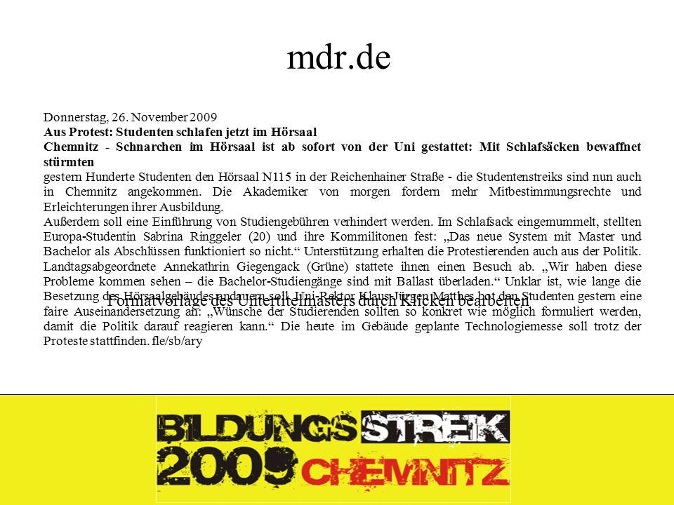 Formatvorlage des Untertitelmasters durch Klicken bearbeiten 26.11.09 mdr.de Donnerstag, 26.