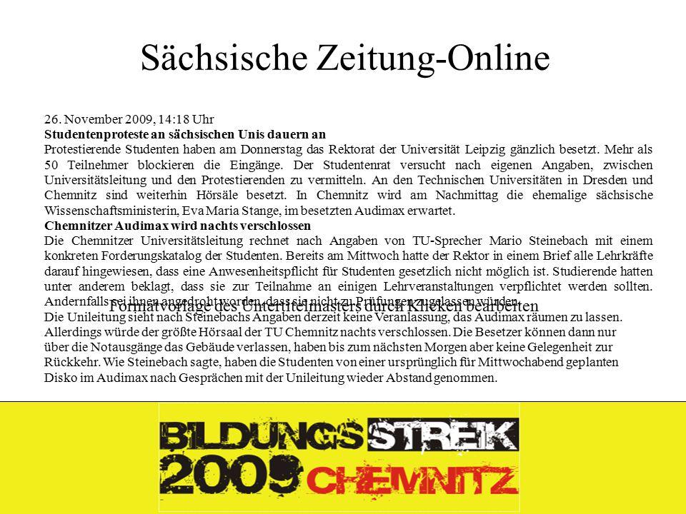 Formatvorlage des Untertitelmasters durch Klicken bearbeiten 26.11.09 Sächsische Zeitung-Online 26.