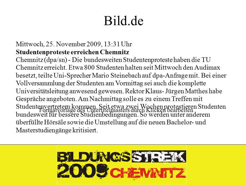 Formatvorlage des Untertitelmasters durch Klicken bearbeiten 26.11.09 Bild.de Mittwoch, 25.