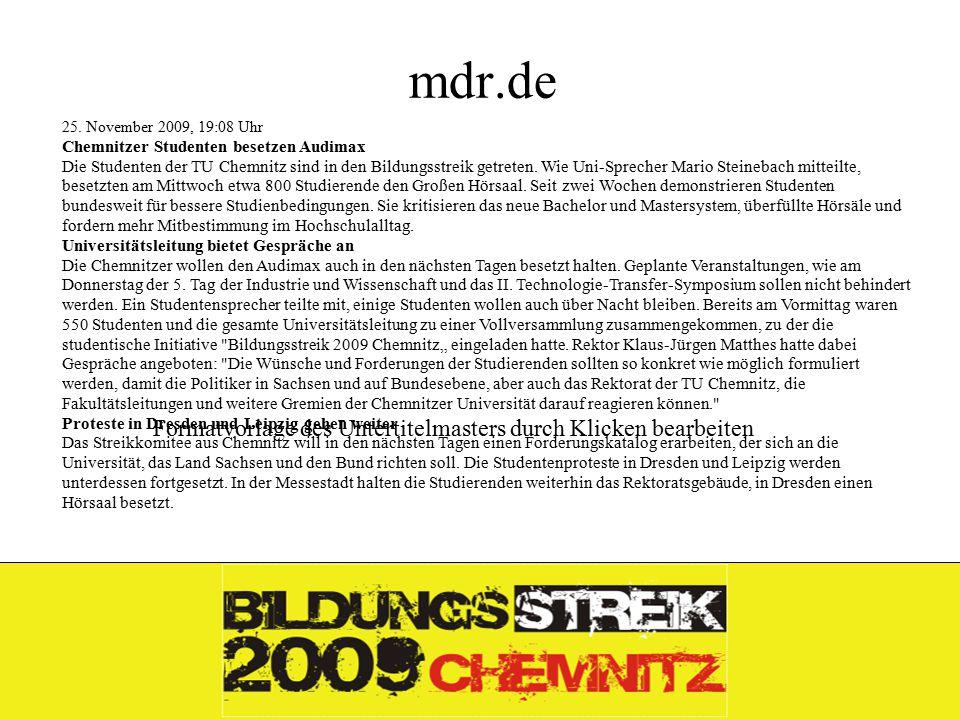 Formatvorlage des Untertitelmasters durch Klicken bearbeiten 26.11.09 mdr.de 25.
