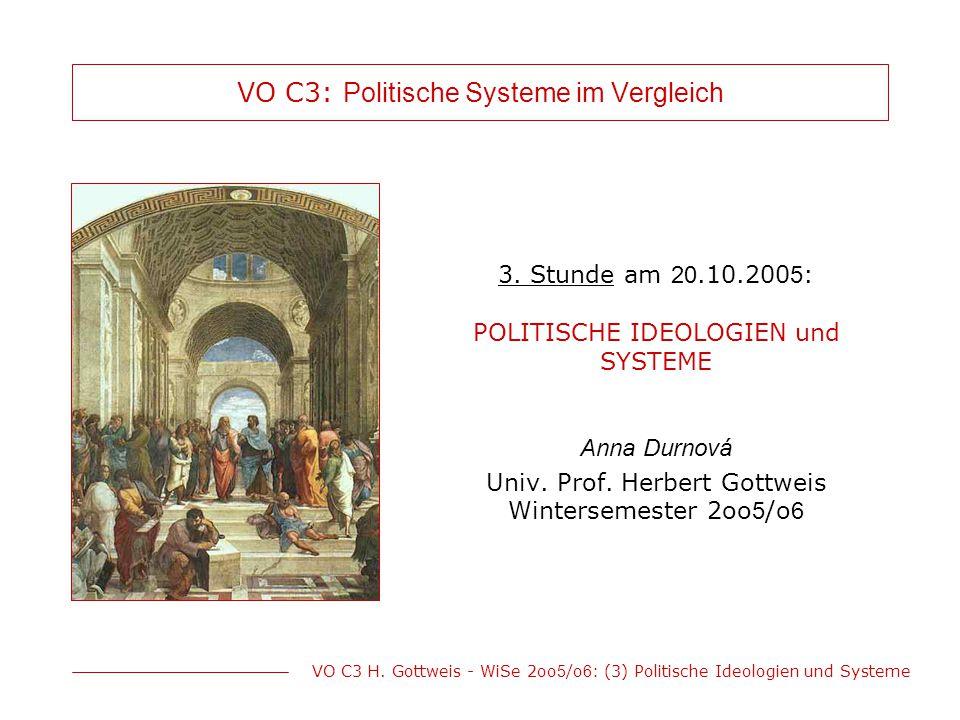 VO C3 H. Gottweis - WiSe 2oo 5 /o 6 : (3) Politische Ideologien und Systeme VO C3: Politische Systeme im Vergleich 3. Stunde am 20.10.200 5 : POLITISC