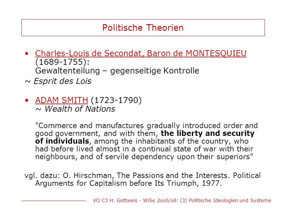 VO C3 H. Gottweis - WiSe 2oo 5 /o 6 : (3) Politische Ideologien und Systeme Politische Theorien Charles-Louis de Secondat, Baron de MONTESQUIEU (1689-