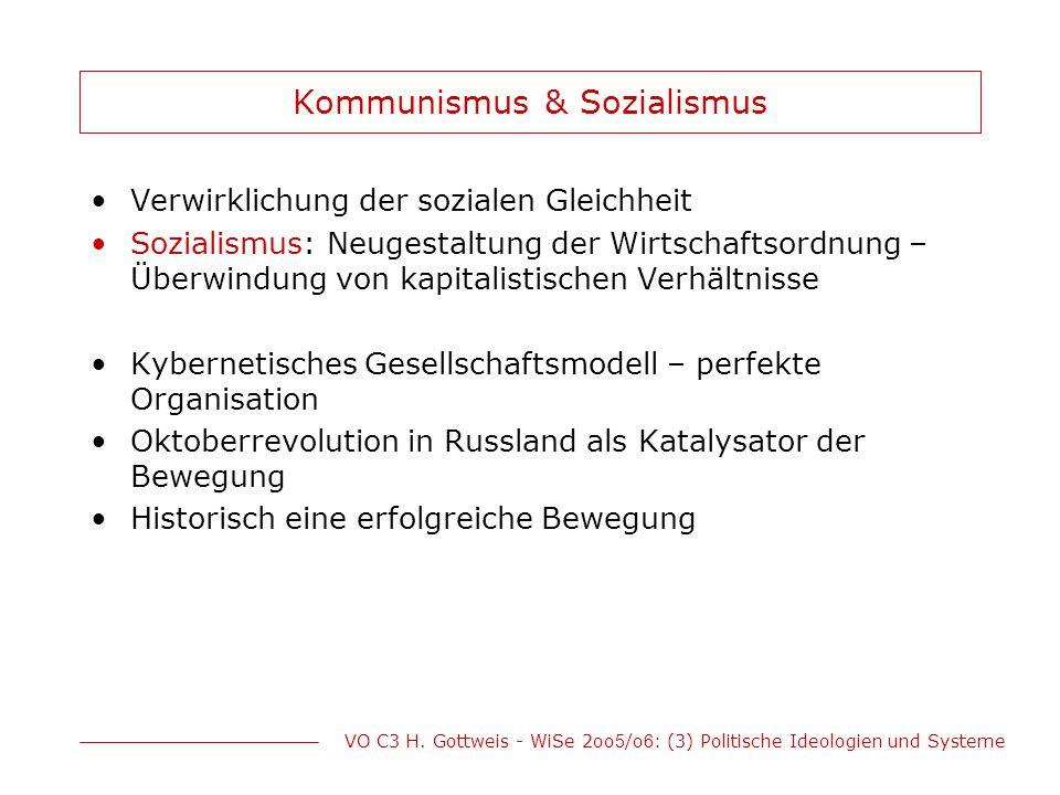 VO C3 H. Gottweis - WiSe 2oo 5 /o 6 : (3) Politische Ideologien und Systeme Kommunismus & Sozialismus Verwirklichung der sozialen Gleichheit Sozialism