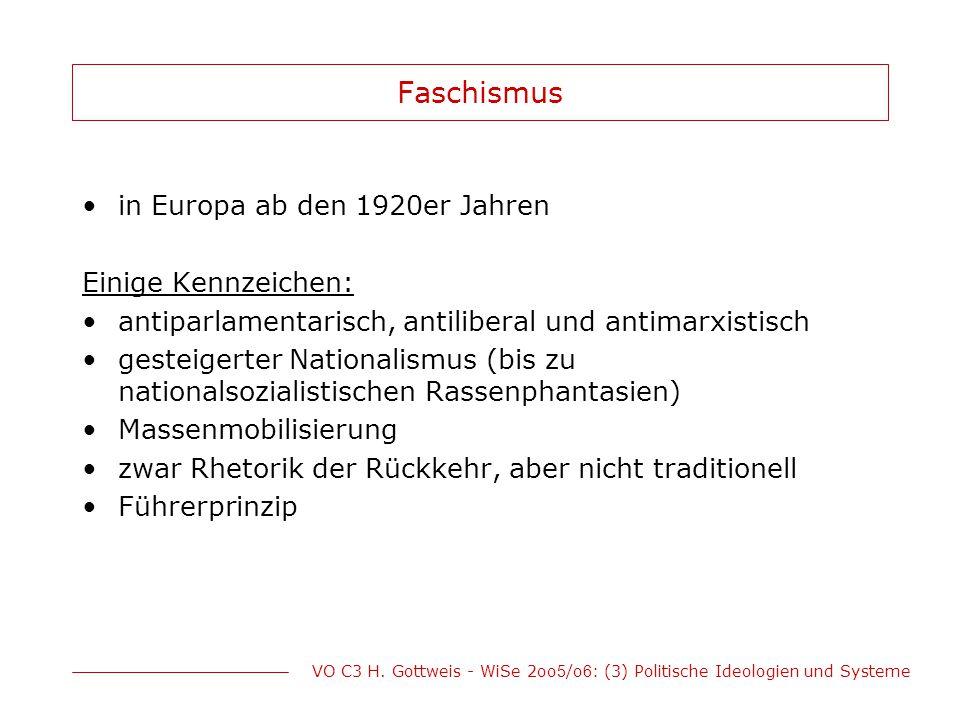 VO C3 H. Gottweis - WiSe 2oo 5 /o 6 : (3) Politische Ideologien und Systeme Faschismus in Europa ab den 1920er Jahren Einige Kennzeichen: antiparlamen