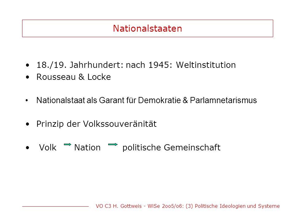 VO C3 H. Gottweis - WiSe 2oo 5 /o 6 : (3) Politische Ideologien und Systeme Nationalstaaten 18./19. Jahrhundert: nach 1945: Weltinstitution Rousseau &