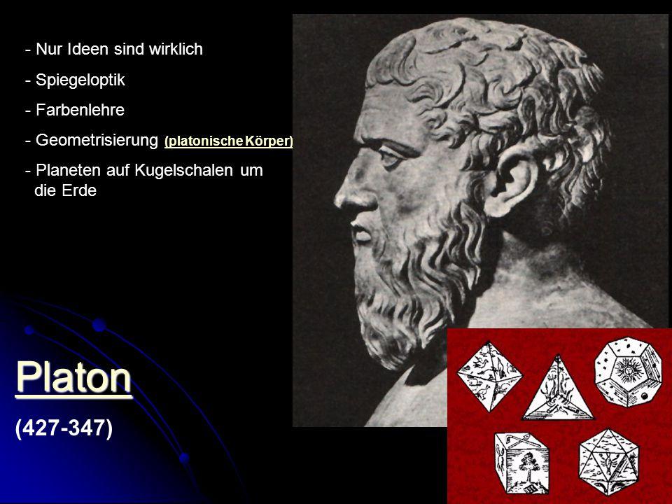 Platon (427-347) - Nur Ideen sind wirklich - Spiegeloptik - Farbenlehre - Geometrisierung (platonische Körper) (platonische Körper) - Planeten auf Kug