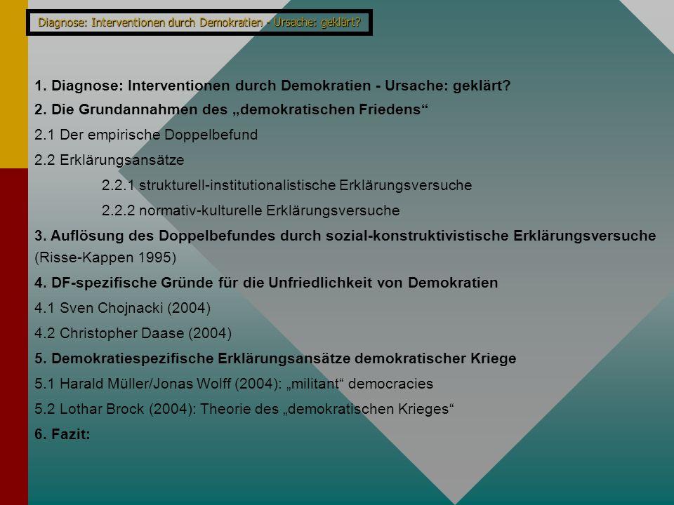 Diagnose: Interventionen durch Demokratien - Ursache: geklärt? 1. Diagnose: Interventionen durch Demokratien - Ursache: geklärt? 2. Die Grundannahmen