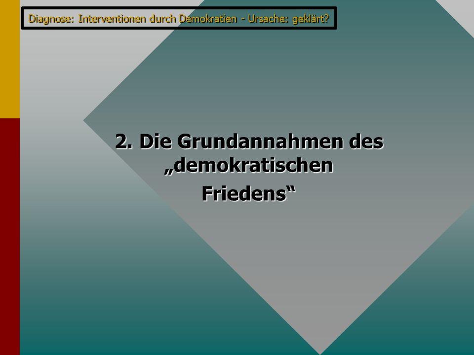 """Diagnose: Interventionen durch Demokratien - Ursache: geklärt? 2. Die Grundannahmen des """"demokratischen Friedens"""""""