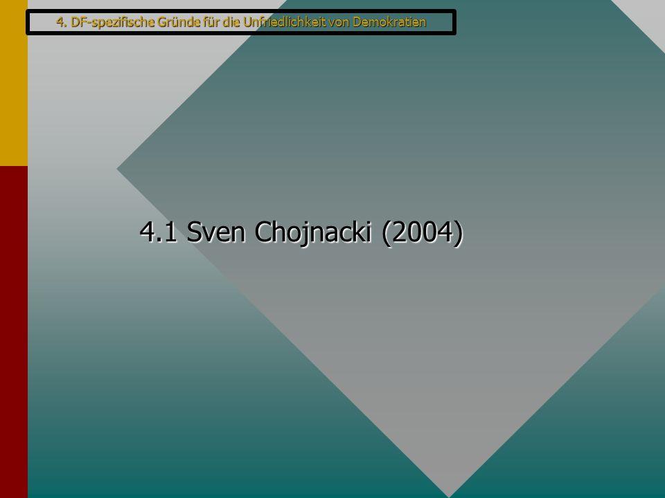 4.1 Sven Chojnacki (2004) 4. DF-spezifische Gründe für die Unfriedlichkeit von Demokratien