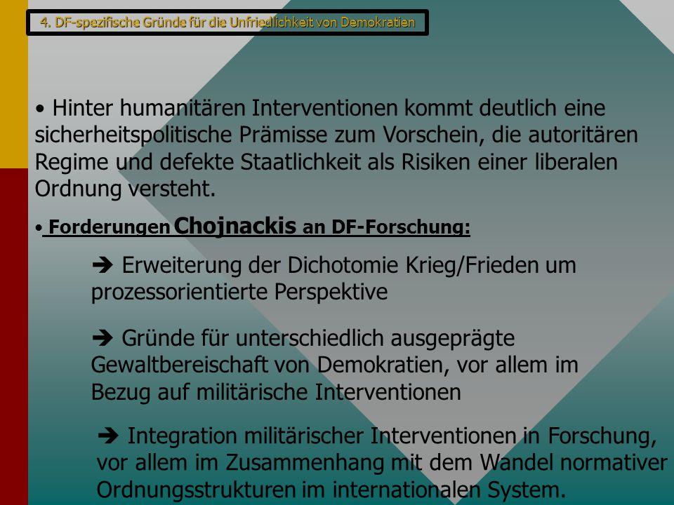 4. DF-spezifische Gründe für die Unfriedlichkeit von Demokratien Hinter humanitären Interventionen kommt deutlich eine sicherheitspolitische Prämisse