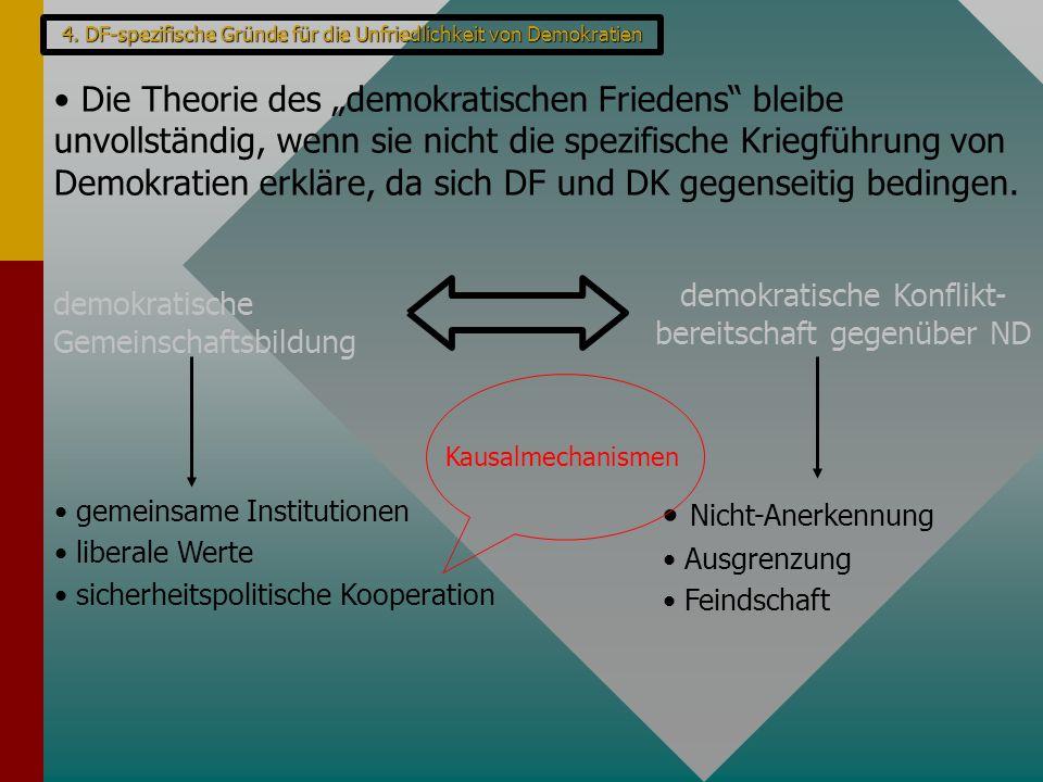"""4. DF-spezifische Gründe für die Unfriedlichkeit von Demokratien Die Theorie des """"demokratischen Friedens"""" bleibe unvollständig, wenn sie nicht die sp"""
