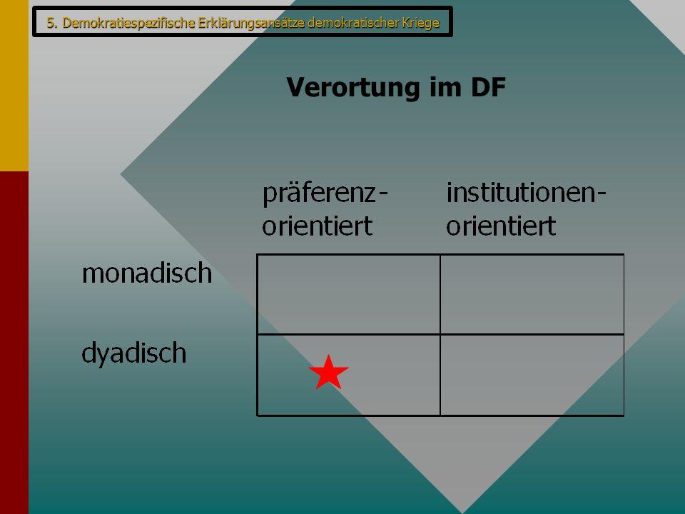 Verortung im DF 5. Demokratiespezifische Erklärungsansätze demokratischer Kriege